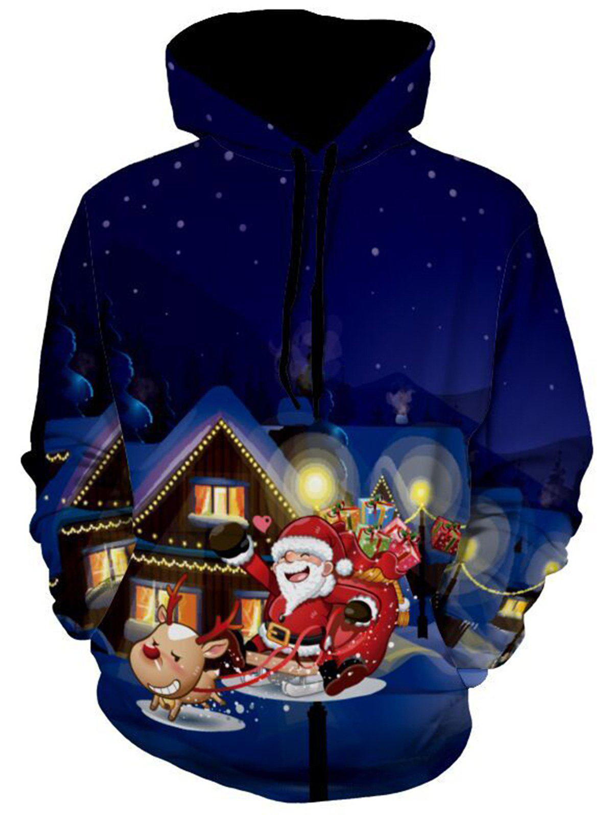 Snowflake Santa Clause Christmas HoodieMEN<br><br>Size: 3XL; Color: COLORMIX; Material: Polyester,Spandex; Shirt Length: Regular; Sleeve Length: Full; Style: Fashion; Patterns: Print; Weight: 0.5500kg; Package Contents: 1 x Hoodie;