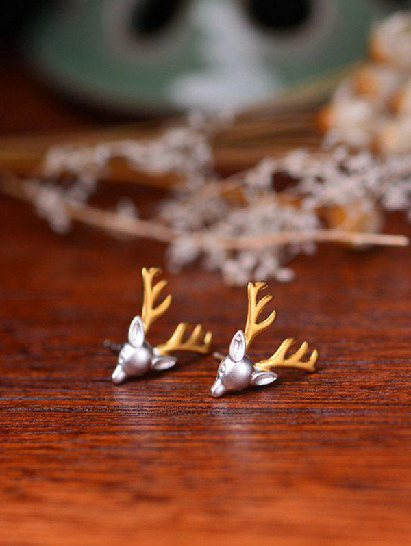 Reindeer Christmas Stud Tiny EarringsJEWELRY<br><br>Color: SILVER; Earring Type: Stud Earrings; Gender: For Women; Style: Trendy; Shape/Pattern: Animal; Length: 1.5CM; Weight: 0.0300kg; Package Contents: 1 x Earring (Pair);