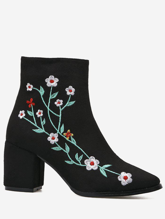 Outfit Ankle Chunky Embroidery Floral Boots
