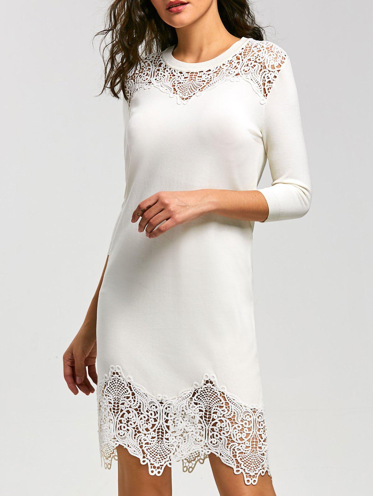 Fancy Lace Insert Knit Bodycon Mini Dress