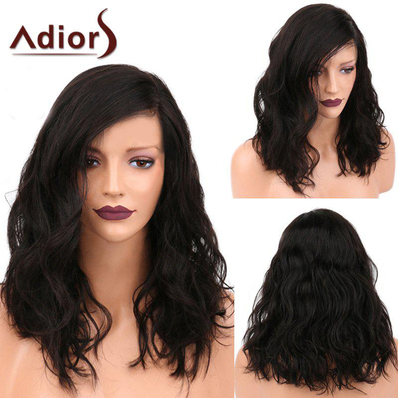 Adiors Medium Side Parting Shaggy Natural Wavy Synthetic WigHAIR<br><br>Color: NATURAL BLACK; Type: Full Wigs; Cap Construction: Capless; Style: Wavy; Material: Synthetic Hair; Bang Type: Side; Length: Medium; Length Size(CM): 46; Weight: 0.2500kg; Package Contents: 1 x Wig;