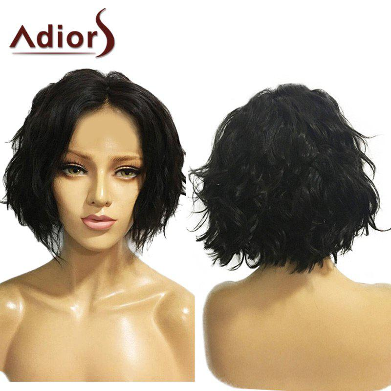 Adiors Short Center Parting Fluffy Wavy Bob Synthetic WigHAIR<br><br>Color: NATURAL BLACK; Type: Full Wigs; Cap Construction: Capless; Style: Bob; Material: Synthetic Hair; Bang Type: Middle; Length: Short; Length Size(CM): 23; Weight: 0.1800kg; Package Contents: 1 x Wig;