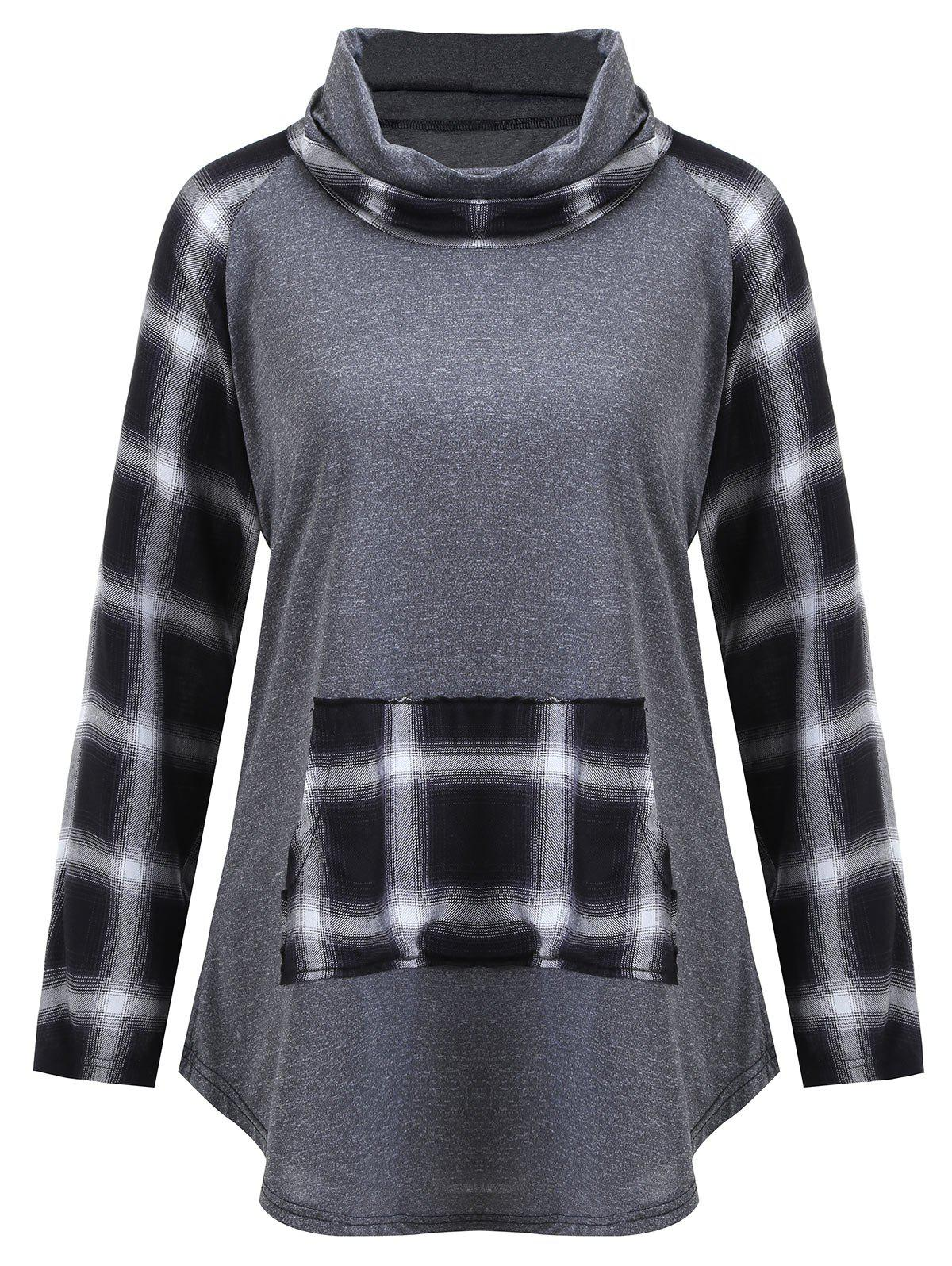 Plus Size Turtleneck Plaid Panel TeeWOMEN<br><br>Size: 5XL; Color: GRAY; Material: Cotton,Polyester; Shirt Length: Regular; Sleeve Length: Full; Collar: Turtleneck; Style: Fashion; Season: Fall; Sleeve Type: Raglan Sleeve; Embellishment: Front Pocket,Panel; Pattern Type: Plaid; Weight: 0.2700kg; Package Contents: 1 x T-shirt;