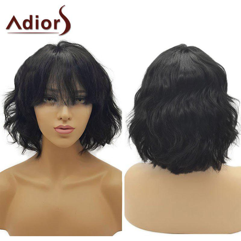 Adiors Short See-Through Bang Fluffy Wavy Bob Synthetic WigHAIR<br><br>Color: NATURAL BLACK; Type: Full Wigs; Cap Construction: Capless; Style: Bob; Material: Synthetic Hair; Bang Type: See-through Bang; Length: Short; Length Size(CM): 26; Weight: 0.1900kg; Package Contents: 1 x Wig;