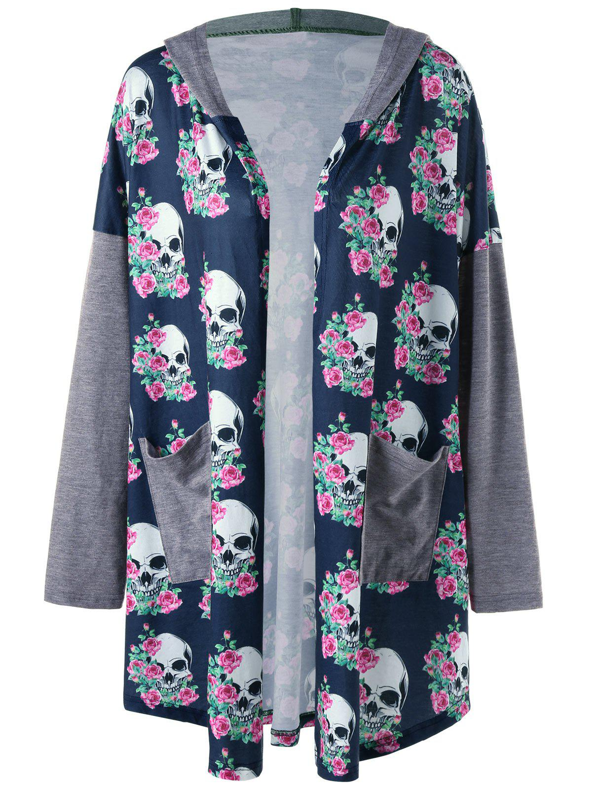 Plus Size Hooded Skulls CardiganWOMEN<br><br>Size: 5XL; Color: INK BLUE; Type: Cardigans; Material: Polyester,Spandex; Sleeve Length: Full; Collar: Collarless; Style: Casual; Season: Fall,Spring; Pattern Type: Skull; Weight: 0.3700kg; Package Contents: 1 x Cardigan;