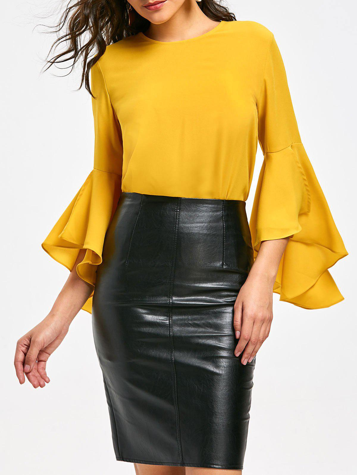 Flare Sleeve Top with FlounceWOMEN<br><br>Size: L; Color: YELLOW; Style: Casual; Material: Polyester; Shirt Length: Long; Sleeve Length: Full; Sleeve Type: Flare Sleeve; Collar: Round Neck; Pattern Type: Solid; Embellishment: Flounce; Season: Fall,Spring; Weight: 0.3500kg; Package Contents: 1 x Blouse;