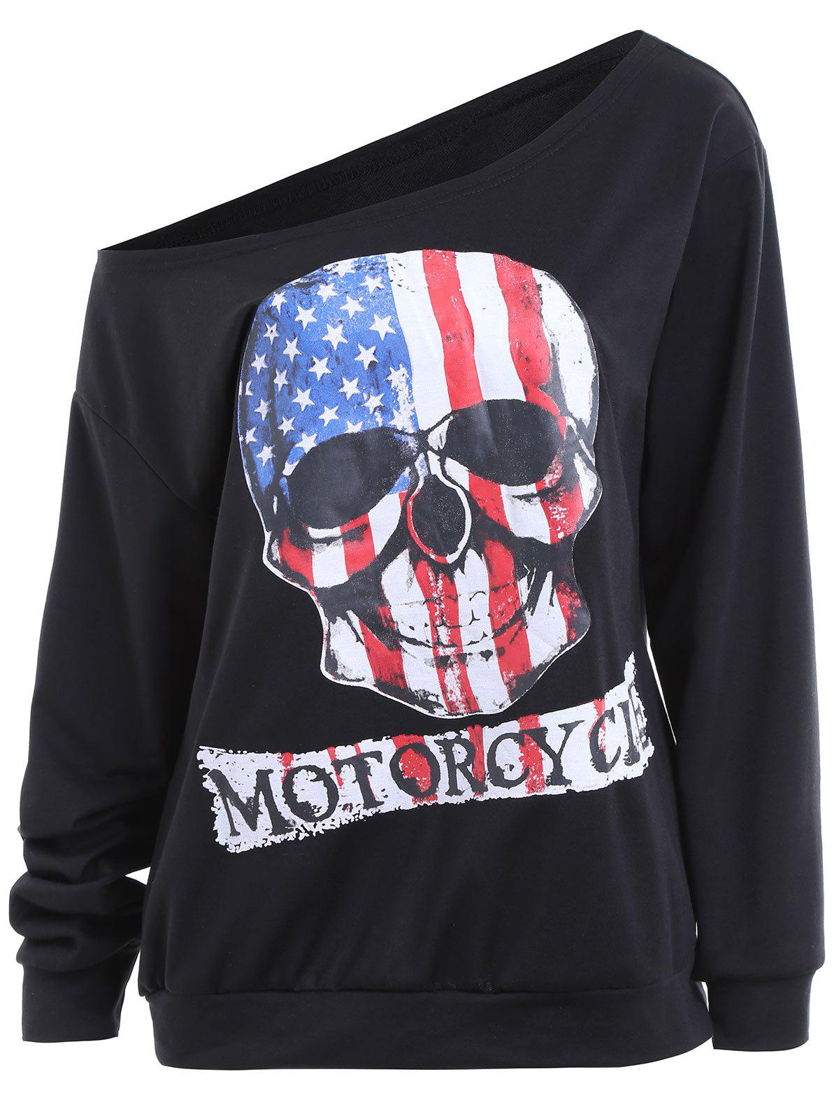 Plus Size Halloween Skull Print Patriotic American Flag SweatshirtWOMEN<br><br>Size: 5XL; Color: BLACK; Material: Cotton,Polyester; Shirt Length: Regular; Sleeve Length: Full; Style: Fashion; Pattern Style: American Flag,Letter,Skulls; Season: Fall; Weight: 0.3700kg; Package Contents: 1 x Sweatshirt;