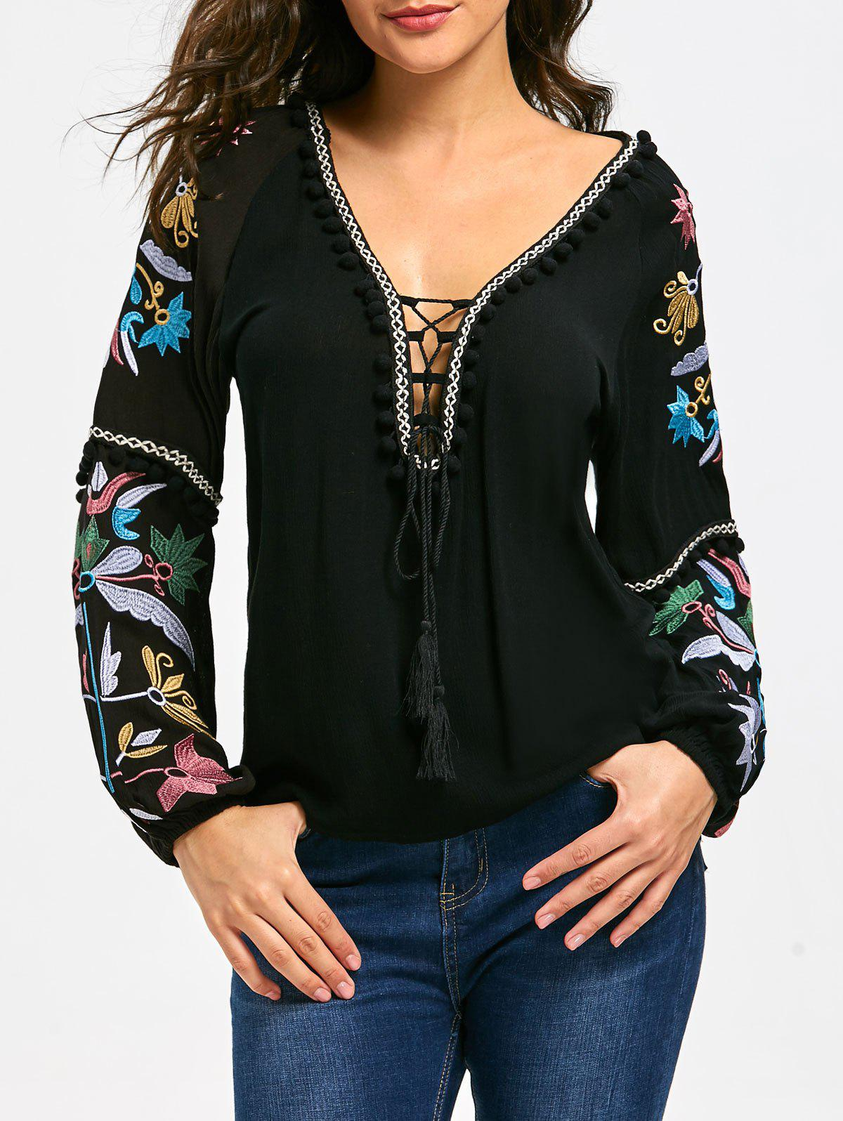 Lace Up Balls Trim Floral Embroidered T-shirtWOMEN<br><br>Size: L; Color: BLACK; Material: Cotton,Polyester; Shirt Length: Regular; Sleeve Length: Full; Collar: Plunging Neck; Style: Casual; Embellishment: Criss-Cross,Embroidery; Pattern Type: Floral; Season: Fall,Spring; Weight: 0.4000kg; Package Contents: 1 x T-shirt;