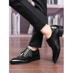 Embossing Lace Up Formal Shoes - BLACK 40