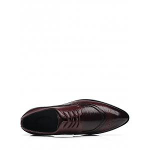 Embossing Lace Up Formal Shoes - Brun 42