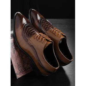 Embossing Lace Up Formal Shoes - YELLOW 42