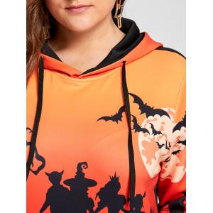 Plus Size Halloween Bat Moon Print Hoodie with Pocket -