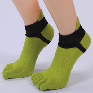 Five Toe Fingers Cotton Blend Ankle Socks - GREEN
