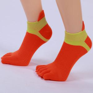 Five Toe Fingers Cotton Blend Ankle Socks - RED