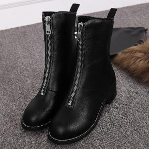 Faux Leather Zip Short Boots - BLACK 35