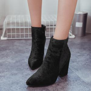 Ankle Pointed Toe Chunky Boots - BLACK 41