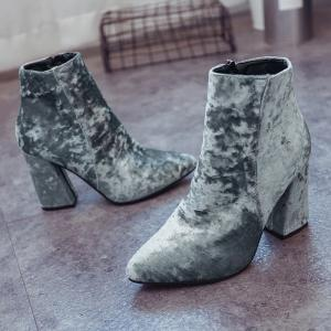 Ankle Pointed Toe Chunky Boots - GRAY 39