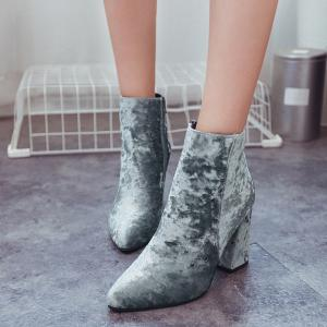 Ankle Pointed Toe Chunky Boots - GRAY 38