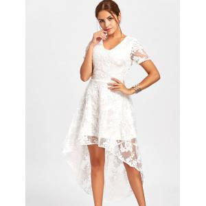 Back Tie Up High Low Lace Dress - WHITE L