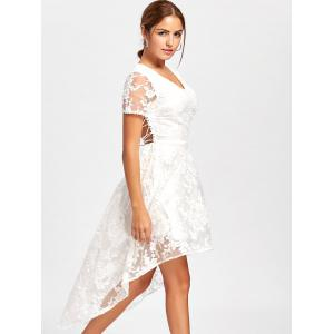 Back Tie Up High Low Lace Dress - WHITE XL