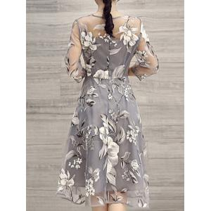 Light Gray 2xl Flower Print Midi Organza Dress Rosegal Com