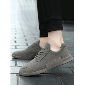 Round Toe Lace Up Sneakers - GRAY 39