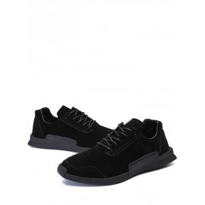 Round Toe Lace Up Sneakers - BLACK 44