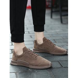 Round Toe Lace Up Sneakers - KHAKI 44