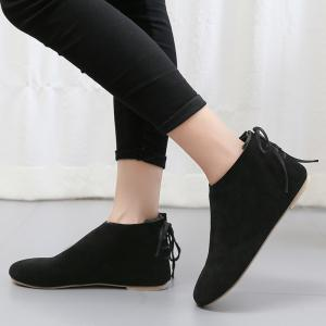 Flat Pointed Toe Ankle Boots - BLACK 36