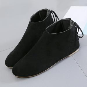 Flat Pointed Toe Ankle Boots - BLACK 38