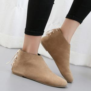 Flat Pointed Toe Ankle Boots - APRICOT 40