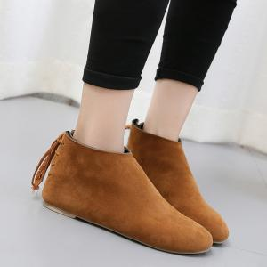 Flat Pointed Toe Ankle Boots - BROWN 38