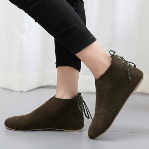 Flat Pointed Toe Ankle Boots - ARMY GREEN 37