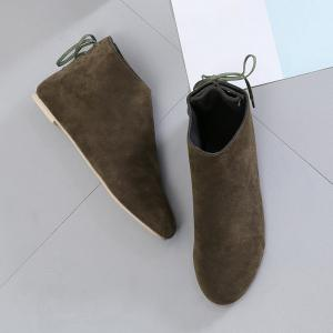 Flat Pointed Toe Ankle Boots - ARMY GREEN 35