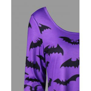 Halloween Bat Lace Up Top - LIGHT PURPLE L