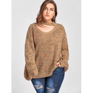 Plus Size Drop Shoulder Ripped Cut Out Neck Sweater - LIGHT COFFEE 2XL