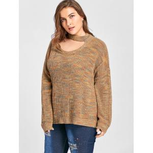 Plus Size Drop Shoulder Ripped Cut Out Neck Sweater - LIGHT COFFEE 3XL