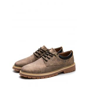 Lace Up Stitching Low Top Casual Shoes - BROWN 43