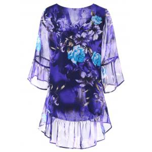 Plus Size Flounced Floral Blouse -