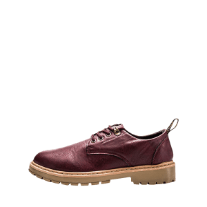 Lace Up Faux Leather Low Top Casual Shoes - WINE RED 44