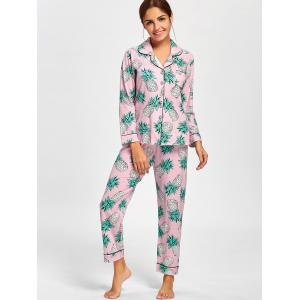 Pineapple Shirt Pajama Set - PINK L