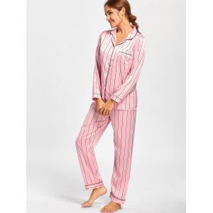 Striped Satin Shirt Pajama Set - PINK L
