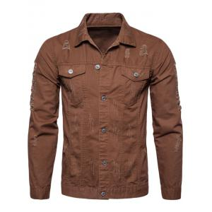 Button Up Distressed Cargo Jacket - COFFEE M