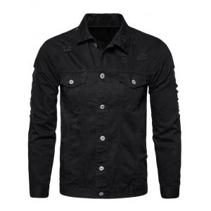 Button Up Distressed Cargo Jacket - BLACK L