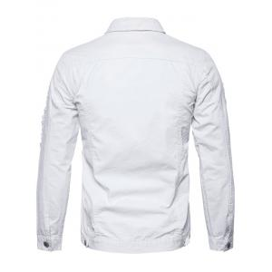 Button Up Distressed Cargo Jacket - WHITE M