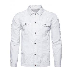 Button Up Distressed Cargo Jacket - WHITE L