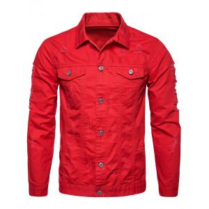 Button Up Distressed Cargo Jacket - RED XL