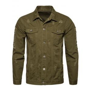 Button Up Distressed Cargo Jacket - ARMY GREEN M