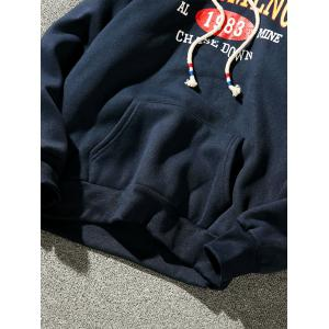 Graphic Print Fleece Pullover Hoodie - CADETBLUE 2XL