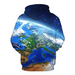 Earth Galaxy 3D Print Pullover Hoodie - COLORMIX L